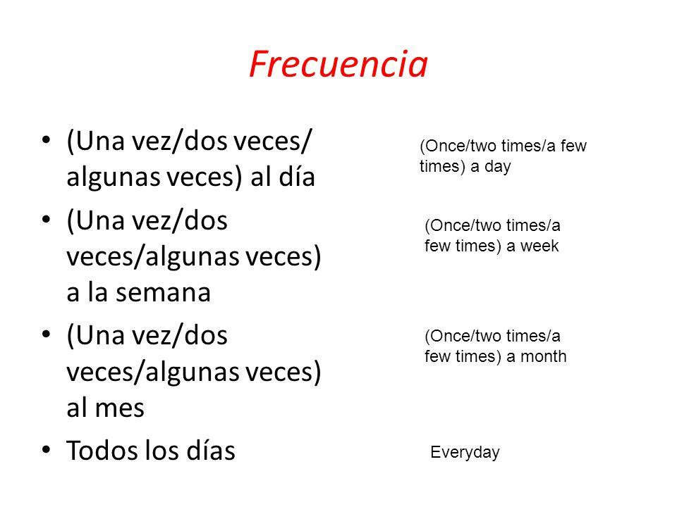 Frecuencia (Una vez/dos veces/ algunas veces) al día (Una vez/dos veces/algunas veces) a la semana (Una vez/dos veces/algunas veces) al mes Todos los