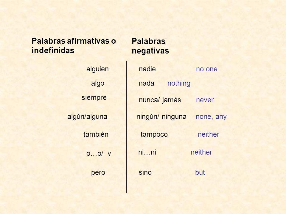 Palabras afirmativas o indefinidas Palabras negativas nadieno one nunca/ jamásnever ningún/ ninguna none, any nada nothing alguien algo siempre algún/