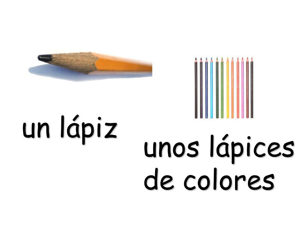 un lápiz unos lápices de colores