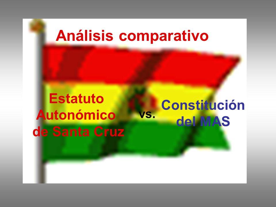 Análisis comparativo Estatuto Autonómico de Santa Cruz vs. Constitución del MAS