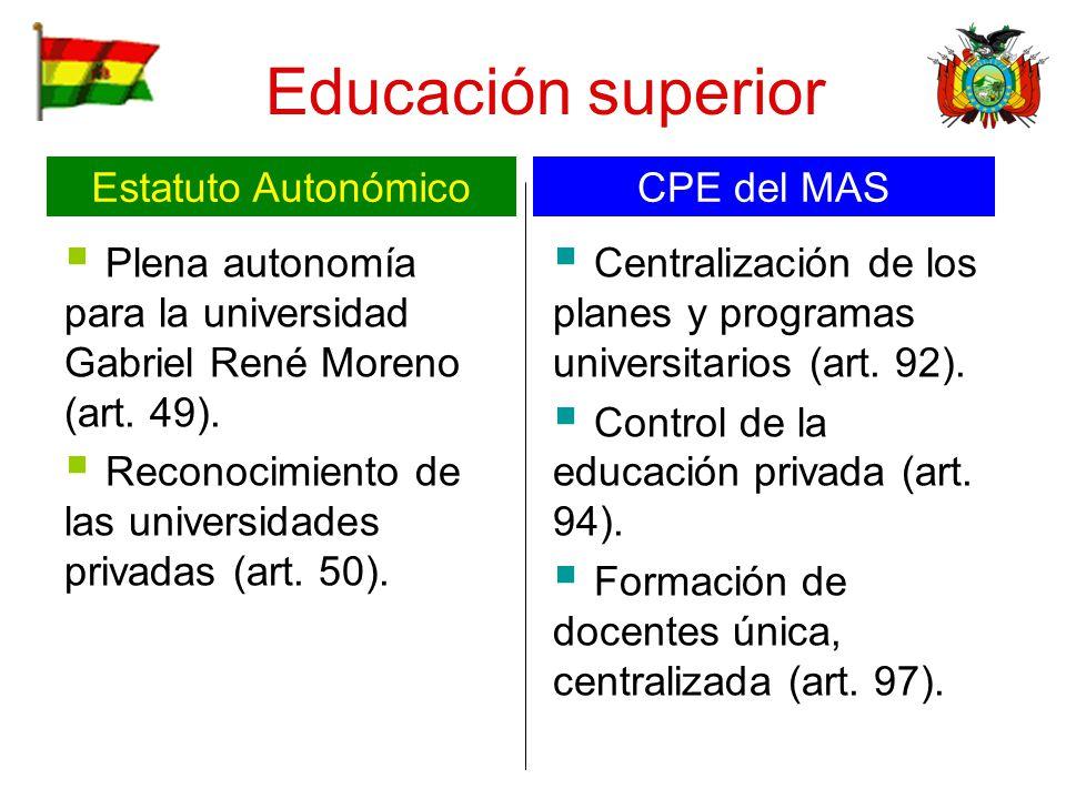 Educación superior Plena autonomía para la universidad Gabriel René Moreno (art. 49). Reconocimiento de las universidades privadas (art. 50). Centrali