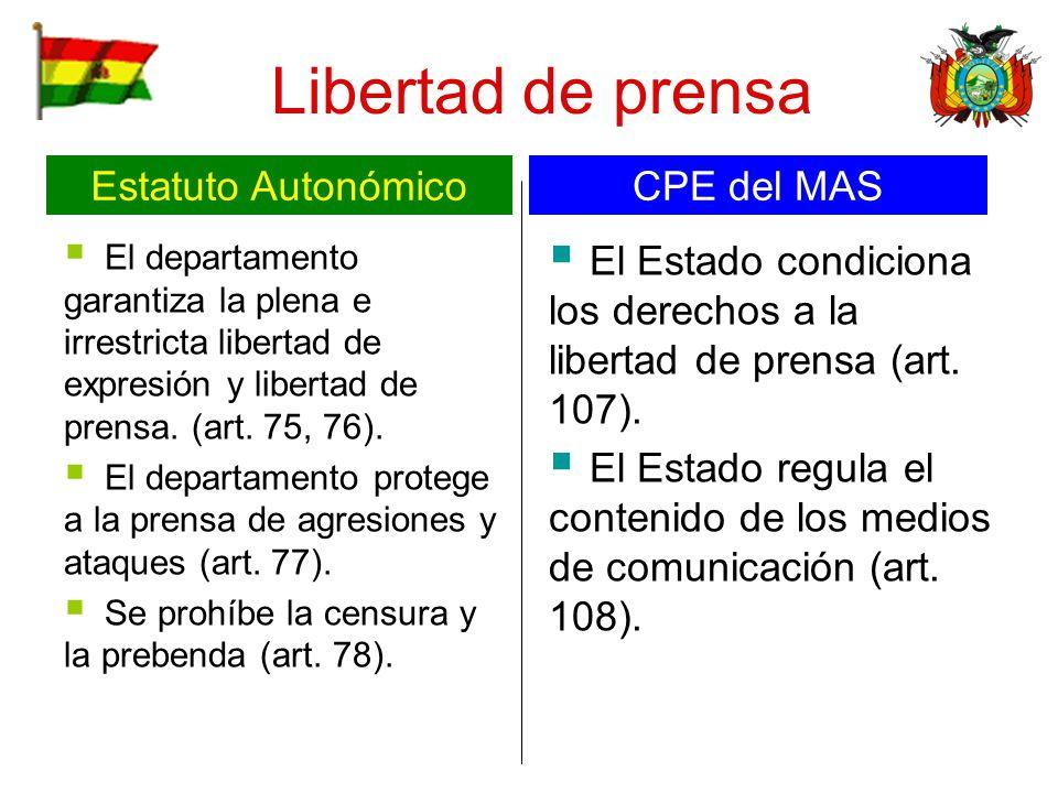 Libertad de prensa El departamento garantiza la plena e irrestricta libertad de expresión y libertad de prensa. (art. 75, 76). El departamento protege