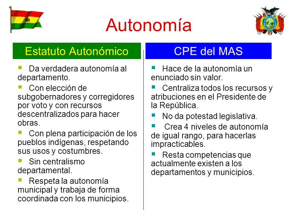 Autonomía Da verdadera autonomía al departamento. Con elección de subgobernadores y corregidores por voto y con recursos descentralizados para hacer o