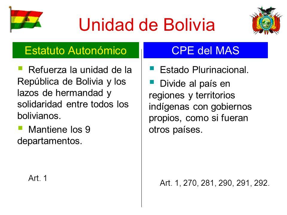 Unidad de Bolivia Refuerza la unidad de la República de Bolivia y los lazos de hermandad y solidaridad entre todos los bolivianos. Mantiene los 9 depa