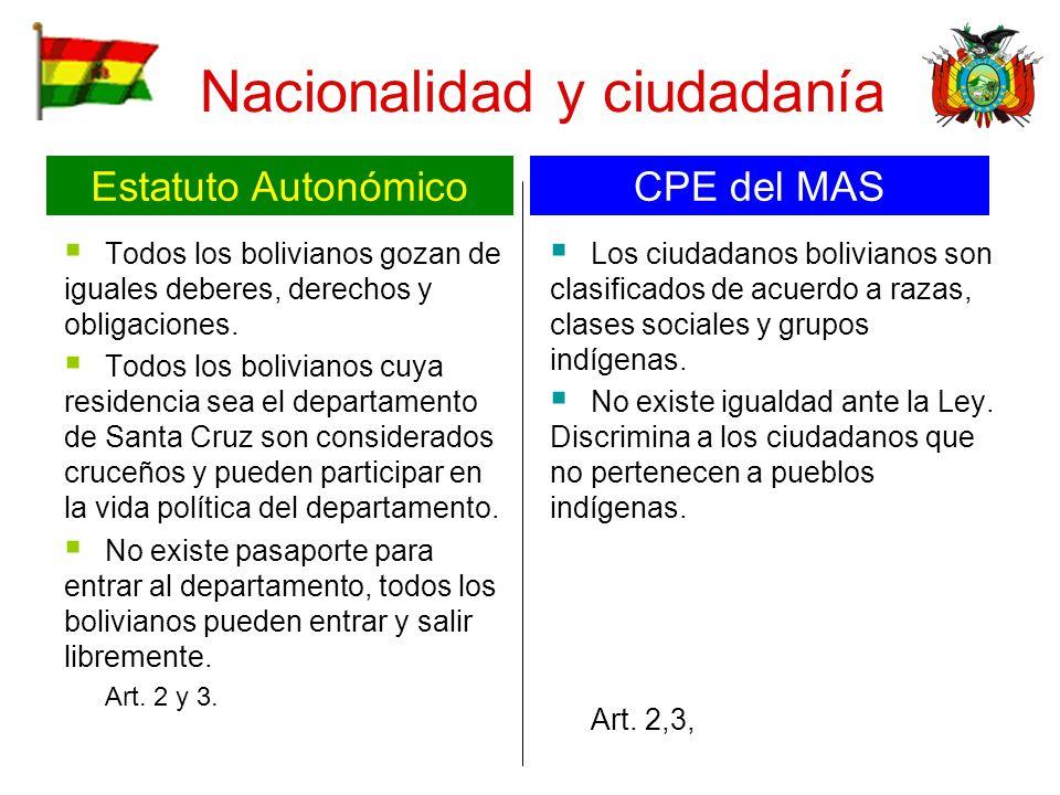 Nacionalidad y ciudadanía Todos los bolivianos gozan de iguales deberes, derechos y obligaciones. Todos los bolivianos cuya residencia sea el departam