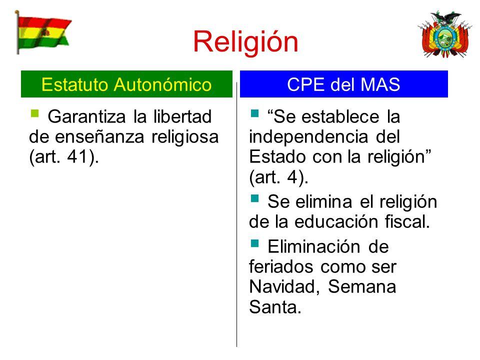 Religión Garantiza la libertad de enseñanza religiosa (art. 41). Se establece la independencia del Estado con la religión (art. 4). Se elimina el reli
