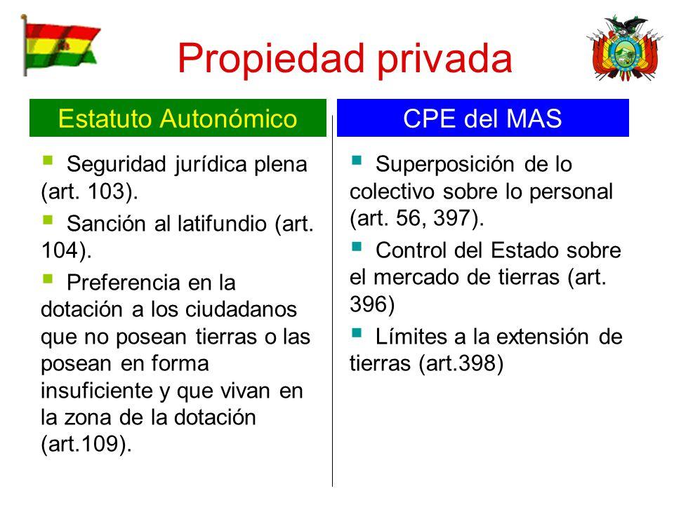 Propiedad privada Seguridad jurídica plena (art. 103). Sanción al latifundio (art. 104). Preferencia en la dotación a los ciudadanos que no posean tie