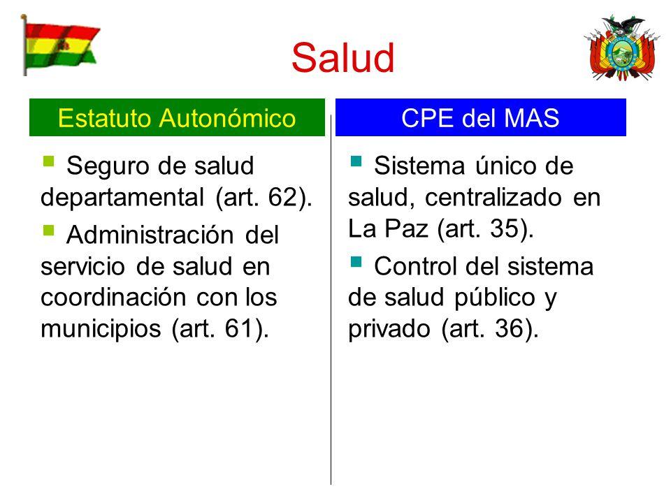 Salud Seguro de salud departamental (art. 62). Administración del servicio de salud en coordinación con los municipios (art. 61). Sistema único de sal