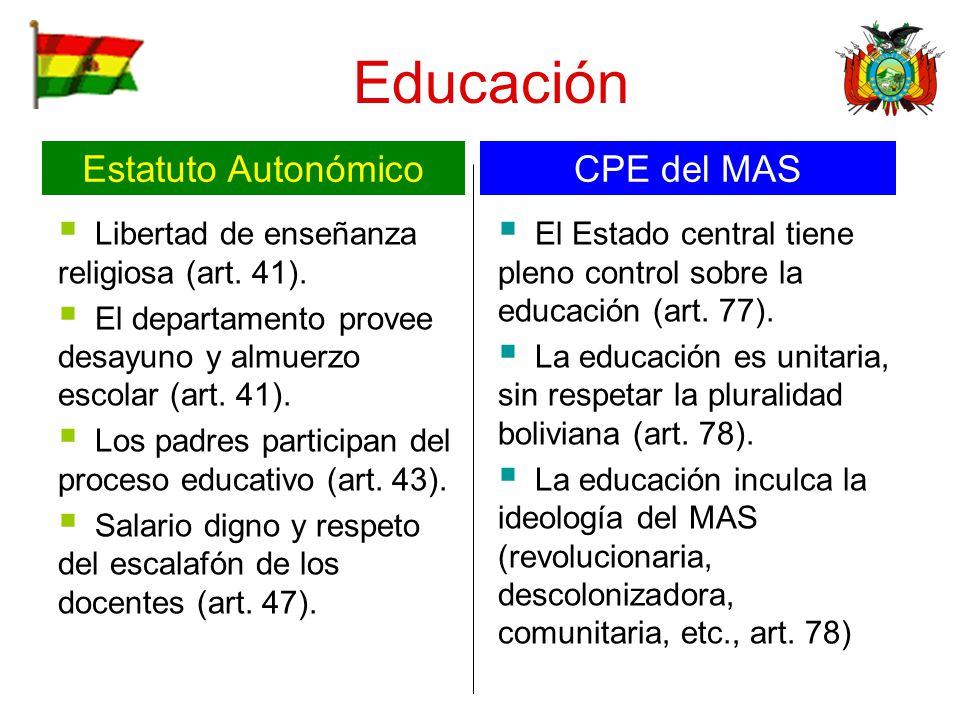 Educación Libertad de enseñanza religiosa (art. 41). El departamento provee desayuno y almuerzo escolar (art. 41). Los padres participan del proceso e