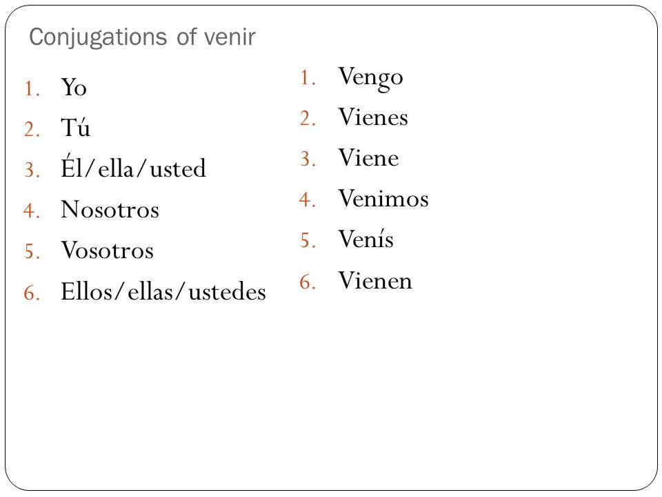 Conjugations of venir 1. Yo 2. Tú 3. Él/ella/usted 4. Nosotros 5. Vosotros 6. Ellos/ellas/ustedes 1. Vengo 2. Vienes 3. Viene 4. Venimos 5. Venís 6. V