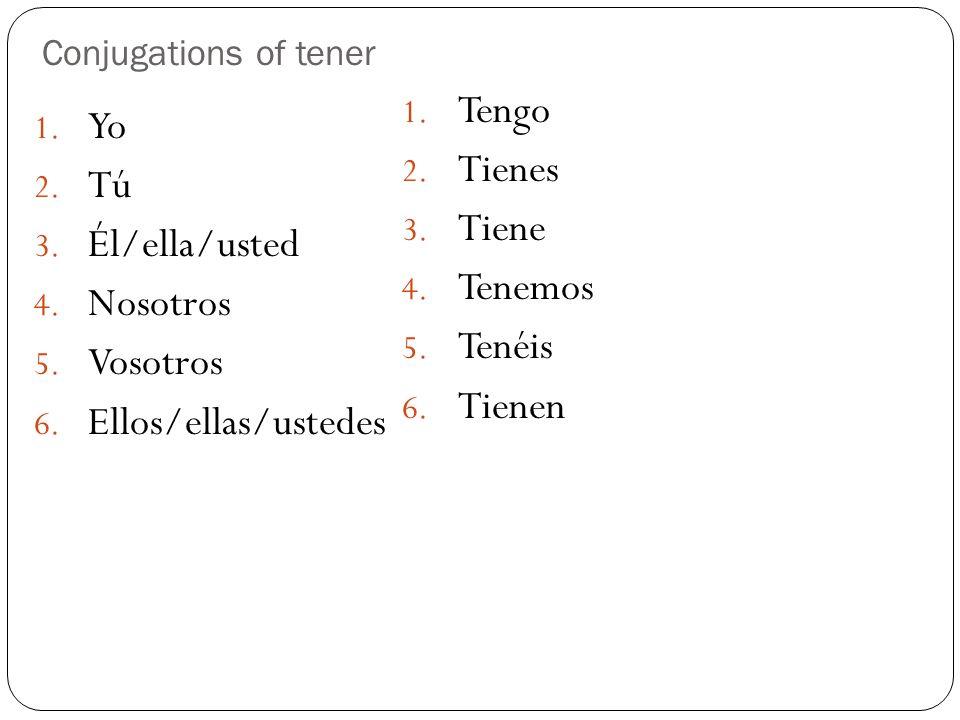 Conjugations of tener 1. Yo 2. Tú 3. Él/ella/usted 4. Nosotros 5. Vosotros 6. Ellos/ellas/ustedes 1. Tengo 2. Tienes 3. Tiene 4. Tenemos 5. Tenéis 6.