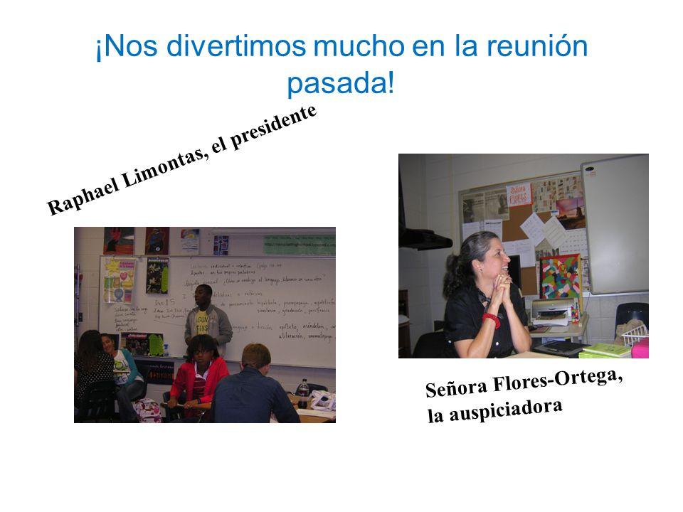 ¡Nos divertimos mucho en la reunión pasada! Raphael Limontas, el presidente Señora Flores-Ortega, la auspiciadora