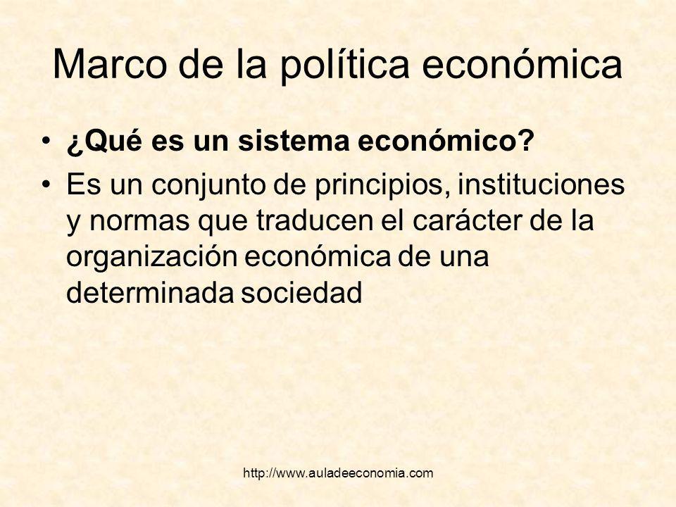 http://www.auladeeconomia.com Marco de la política económica ¿Qué es un sistema económico? Es un conjunto de principios, instituciones y normas que tr