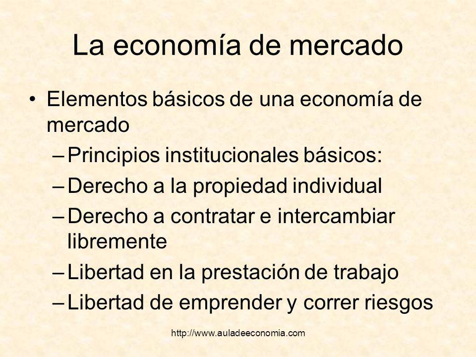 http://www.auladeeconomia.com La economía de mercado Elementos básicos de una economía de mercado –Principios institucionales básicos: –Derecho a la p