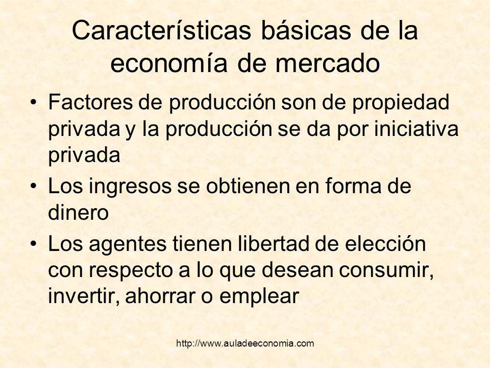 http://www.auladeeconomia.com Características básicas de la economía de mercado Factores de producción son de propiedad privada y la producción se da
