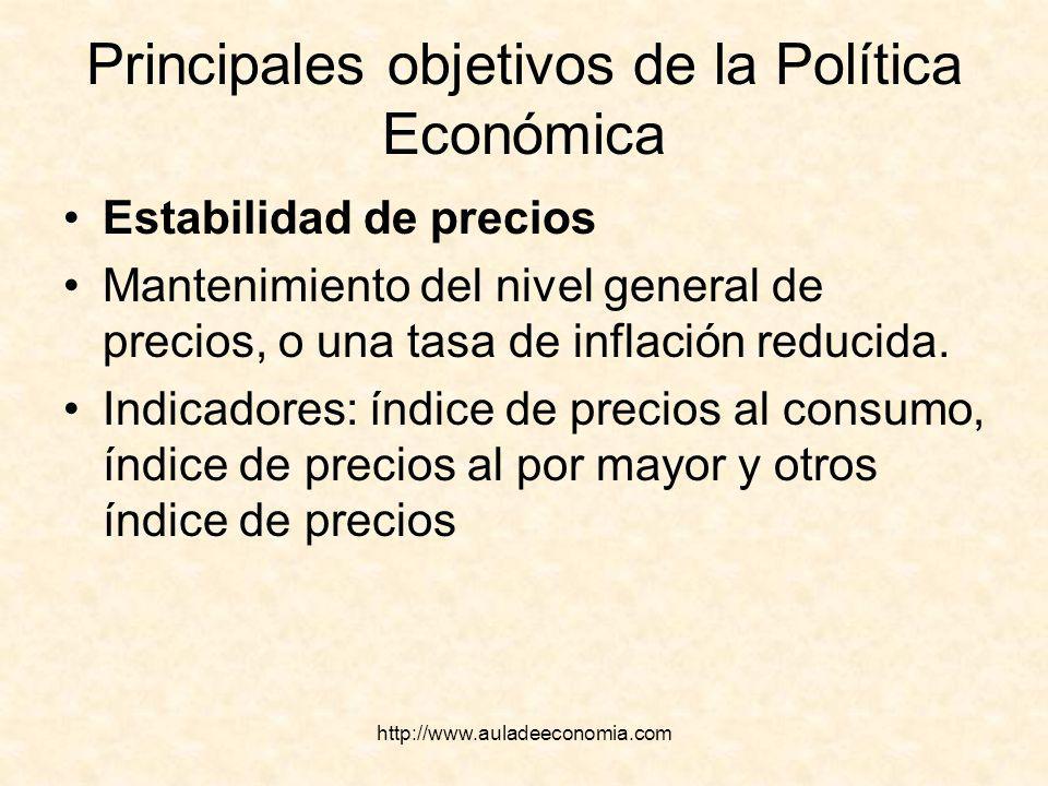 http://www.auladeeconomia.com Principales objetivos de la Política Económica Estabilidad de precios Mantenimiento del nivel general de precios, o una