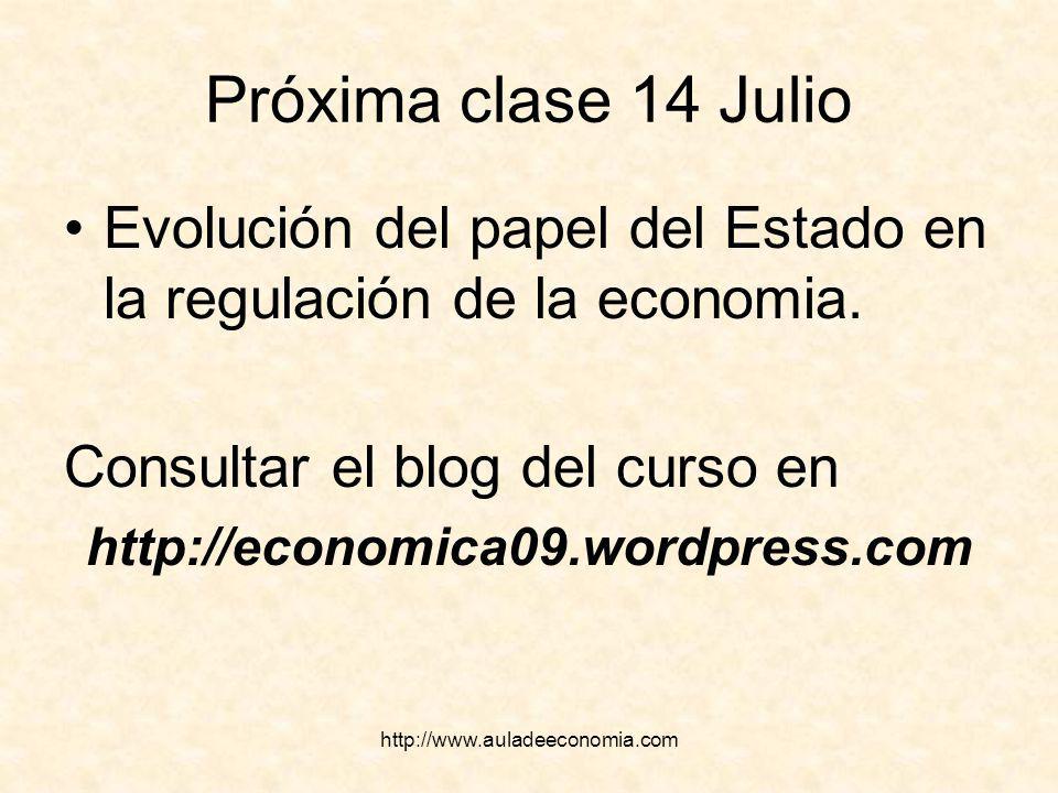 http://www.auladeeconomia.com Próxima clase 14 Julio Evolución del papel del Estado en la regulación de la economia. Consultar el blog del curso en ht