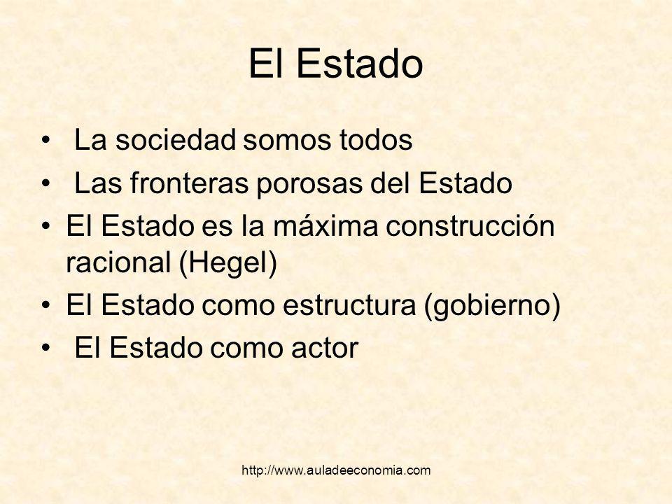 http://www.auladeeconomia.com El Estado La sociedad somos todos Las fronteras porosas del Estado El Estado es la máxima construcción racional (Hegel)
