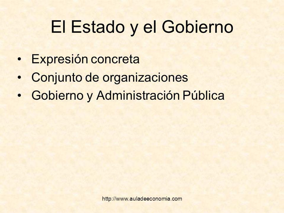 http://www.auladeeconomia.com El Estado y el Gobierno Expresión concreta Conjunto de organizaciones Gobierno y Administración Pública