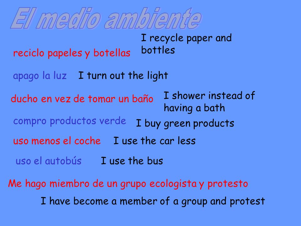reciclo papeles y botellas apago la luz ducho en vez de tomar un baño compro productos verde uso menos el coche Me hago miembro de un grupo ecologista y protesto I recycle paper and bottles I turn out the light I shower instead of having a bath I buy green products I use the car less I have become a member of a group and protest uso el autobúsI use the bus