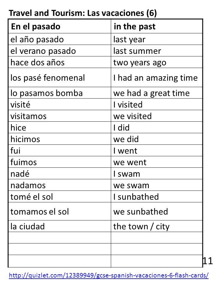 Travel and Tourism: Las vacaciones (6) En el pasadoin the past el año pasado last year el verano pasado last summer hace dos años two years ago los pa
