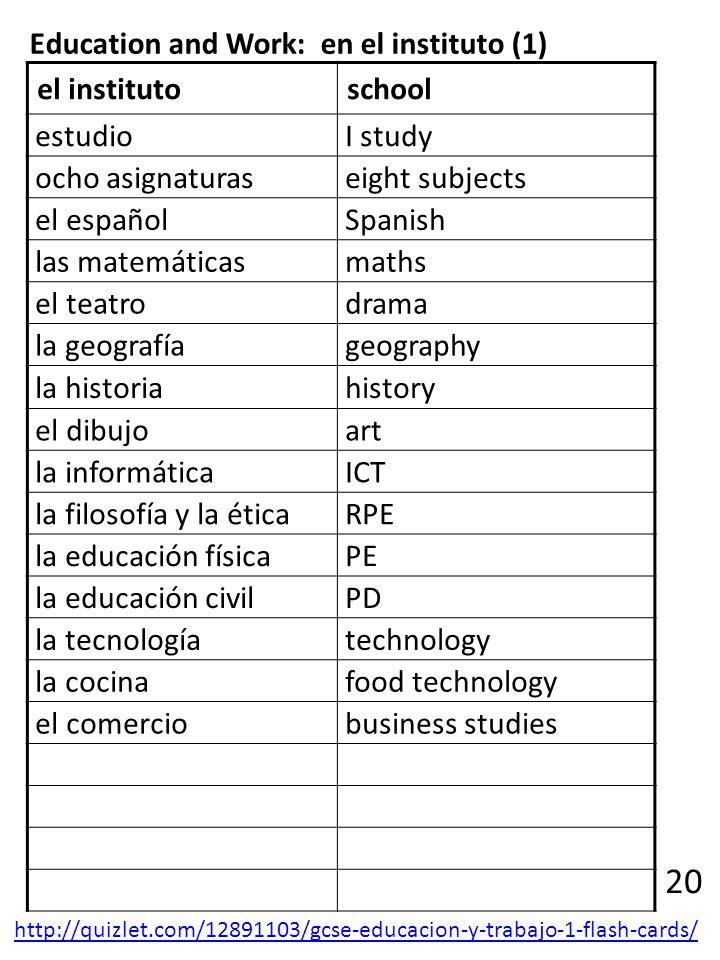 Education and Work: en el instituto (1) el institutoschool estudio I study ocho asignaturas eight subjects el español Spanish las matemáticas maths el