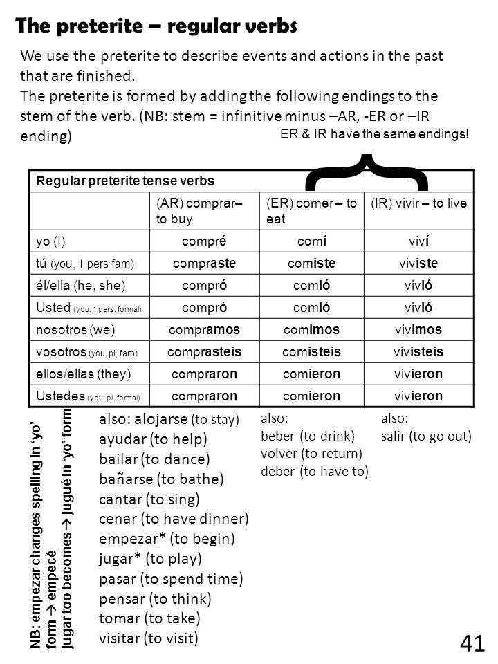 Regular preterite tense verbs (AR) comprar– to buy (ER) comer – to eat (IR) vivir – to live yo (I) comprécomíviví tú (you, 1 pers fam) comprastecomist