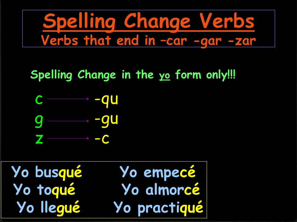 Stem Changing Verbs *Only –ir will have a stem change in the preterite.