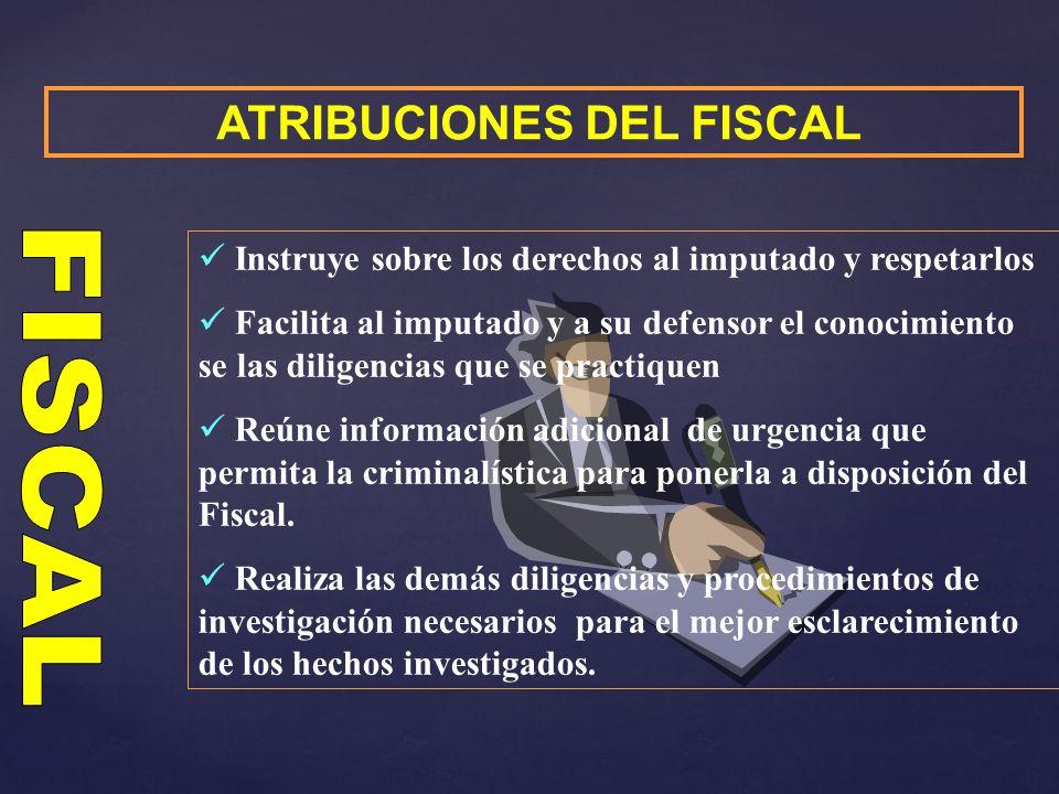 ATRIBUCIONES DEL FISCAL Instruye sobre los derechos al imputado y respetarlos Facilita al imputado y a su defensor el conocimiento se las diligencias
