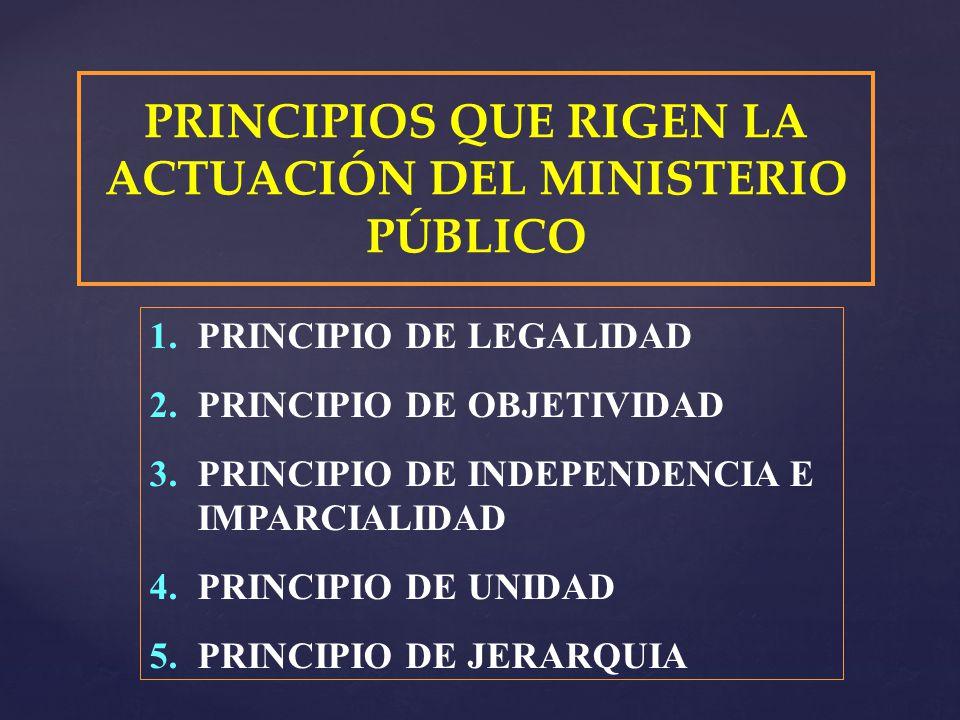 PRINCIPIOS QUE RIGEN LA ACTUACIÓN DEL MINISTERIO PÚBLICO 1.PRINCIPIO DE LEGALIDAD 2.PRINCIPIO DE OBJETIVIDAD 3.PRINCIPIO DE INDEPENDENCIA E IMPARCIALI