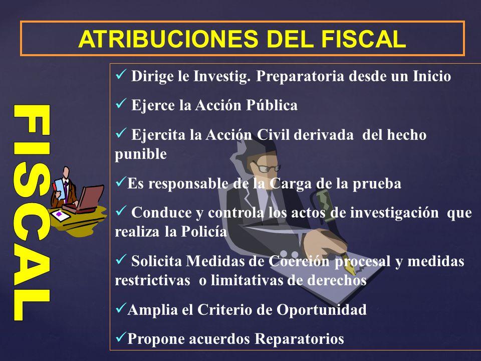 ATRIBUCIONES DEL FISCAL Formaliza y dispone la continuación de la investigación preparatoria y lo comunica al juez Decide la estrategia de Investigación adecuada al caso.