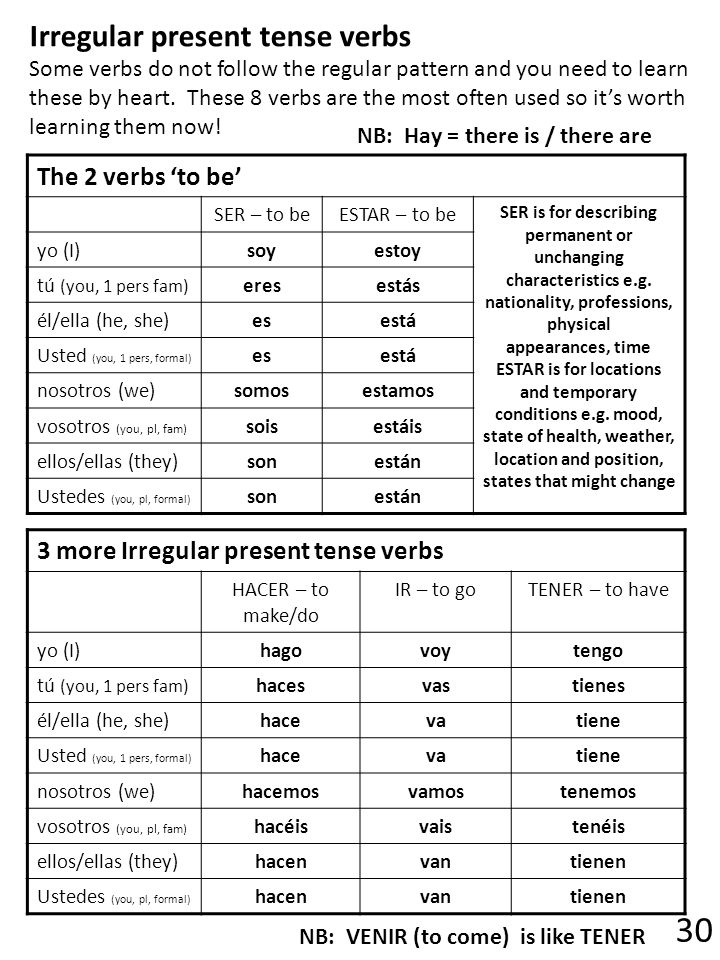 The 2 verbs to be SER – to beESTAR – to be SER is for describing permanent or unchanging characteristics e.g.