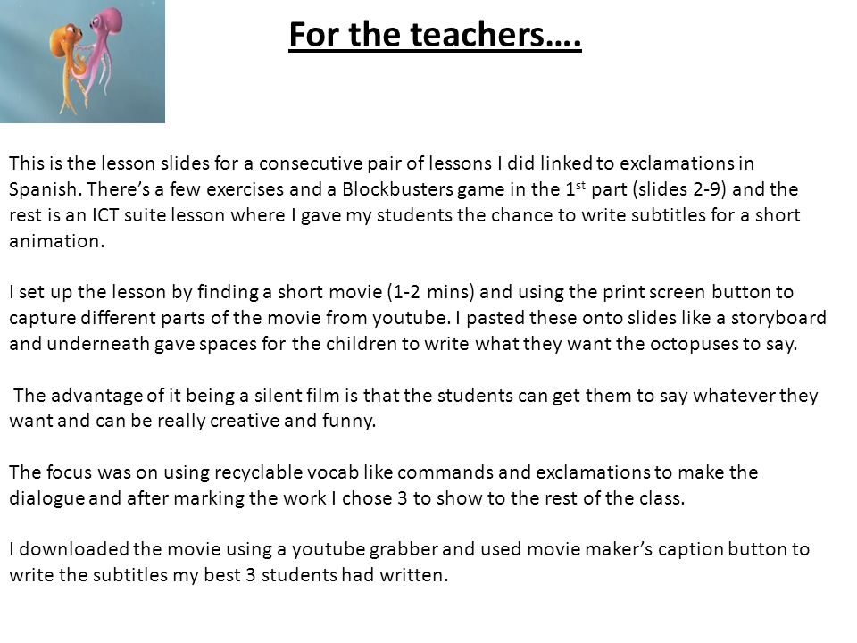 For the teachers….