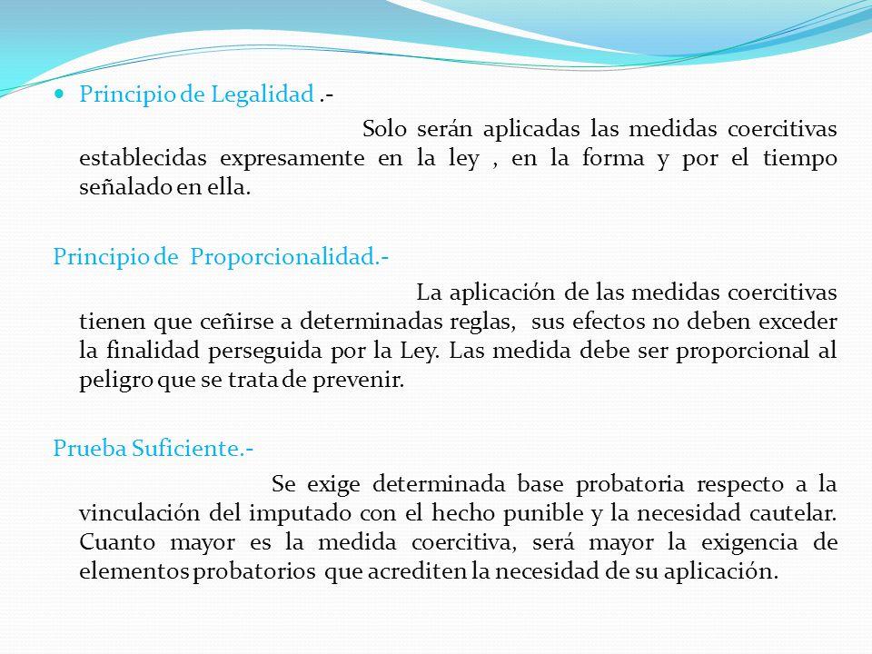 Principio de Legalidad.- Solo serán aplicadas las medidas coercitivas establecidas expresamente en la ley, en la forma y por el tiempo señalado en ell