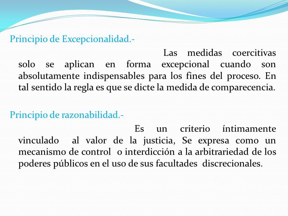 Principio de Excepcionalidad.- Las medidas coercitivas solo se aplican en forma excepcional cuando son absolutamente indispensables para los fines del