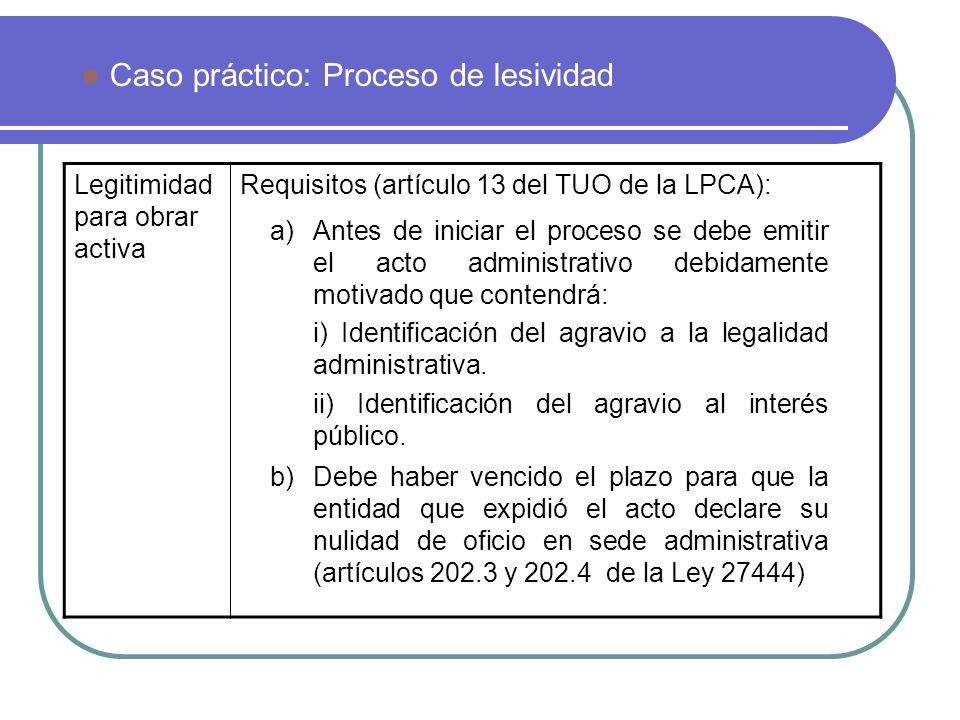 Caso práctico: Proceso de lesividad Legitimidad para obrar activa Requisitos (artículo 13 del TUO de la LPCA): a)Antes de iniciar el proceso se debe e