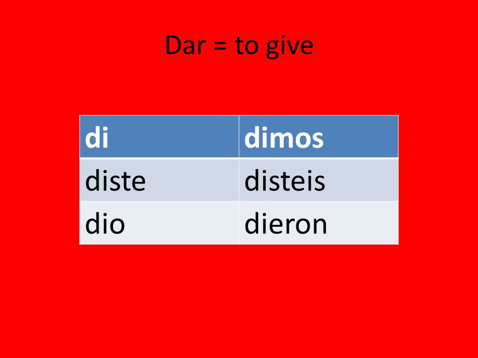 Dar = to give didimos distedisteis diodieron