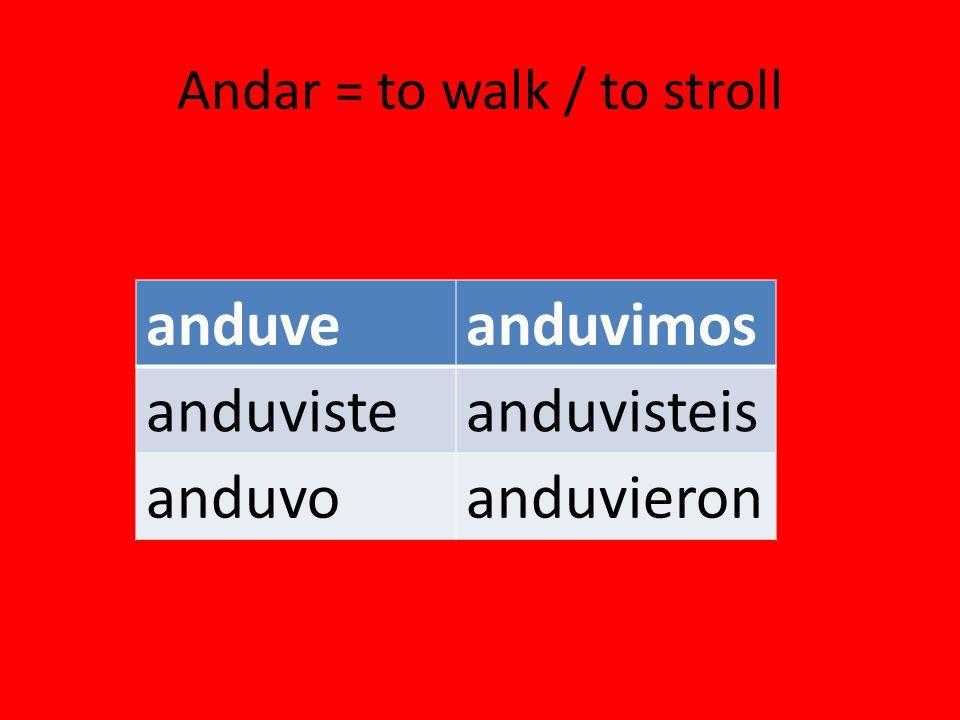 Andar = to walk / to stroll anduveanduvimos anduvisteanduvisteis anduvoanduvieron