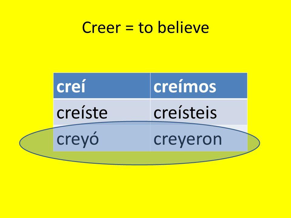 Creer = to believe creícreímos creístecreísteis creyócreyeron