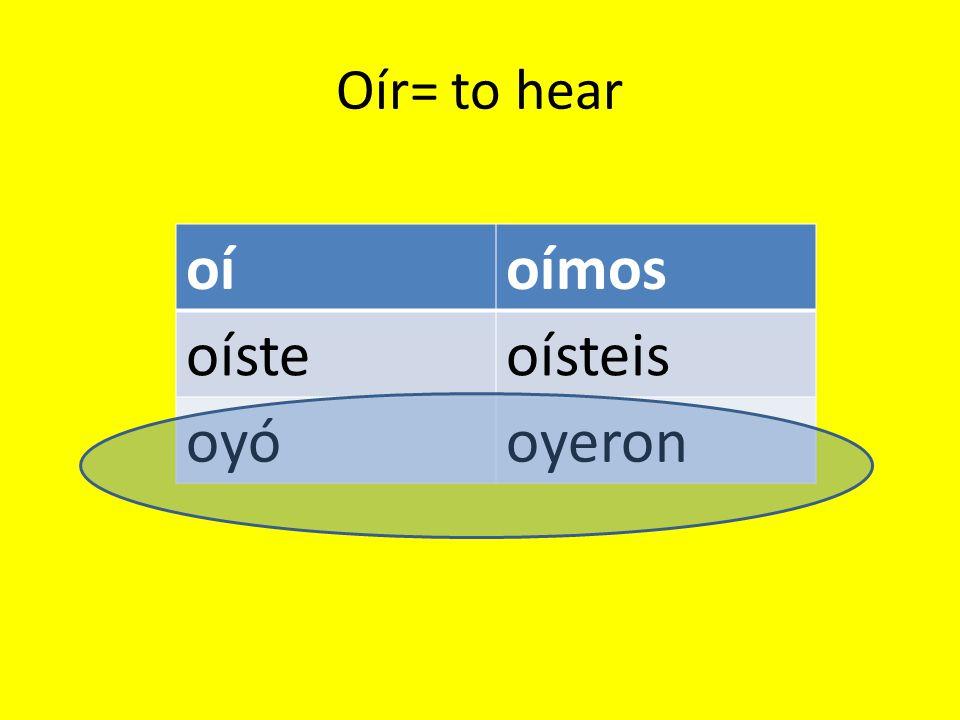 Oír= to hear oíoímos oísteoísteis oyóoyeron