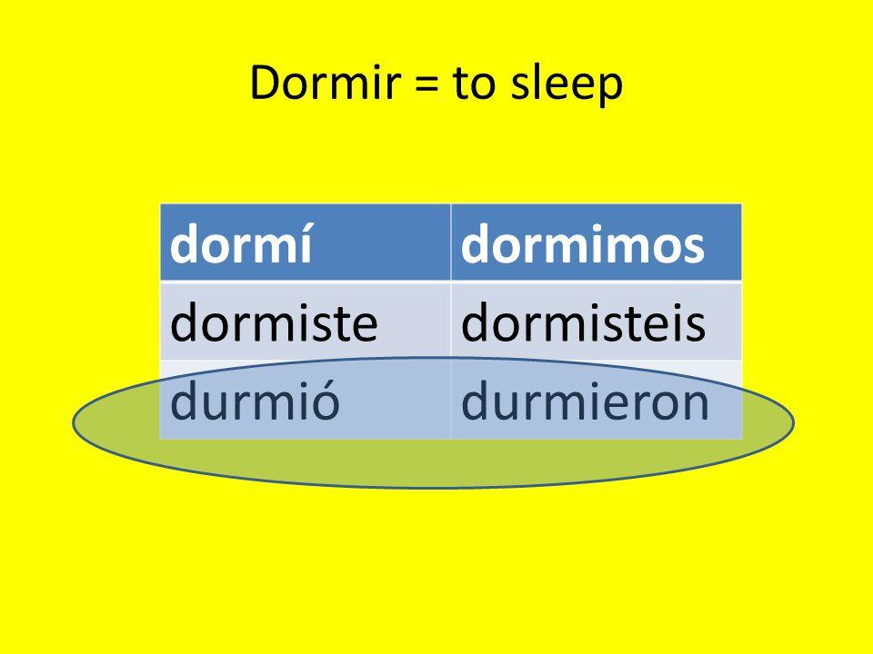 Dormir = to sleep dormídormimos dormistedormisteis durmiódurmieron