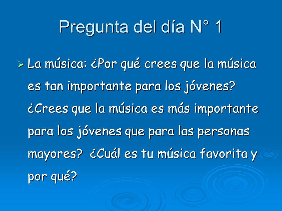 Pregunta del día N° 1 La música: ¿Por qué crees que la música es tan importante para los jóvenes.