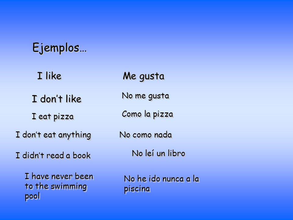 Ejemplos… Me gusta I like I dont like No me gusta I eat pizza Como la pizza I dont eat anything No como nada I didnt read a book No leí un libro I hav