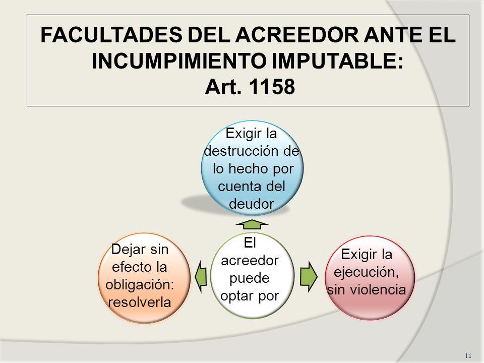 FACULTADES DEL ACREEDOR ANTE EL INCUMPIMIENTO IMPUTABLE: Art.