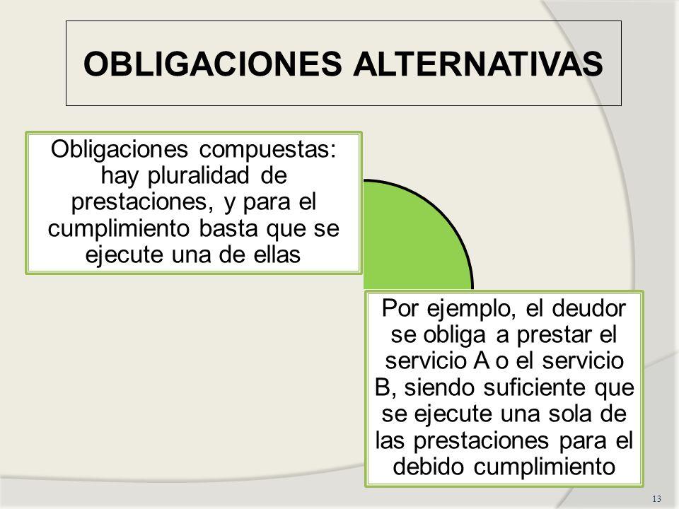 OBLIGACIONES ALTERNATIVAS 13 Obligaciones compuestas: hay pluralidad de prestaciones, y para el cumplimiento basta que se ejecute una de ellas Por ejemplo, el deudor se obliga a prestar el servicio A o el servicio B, siendo suficiente que se ejecute una sola de las prestaciones para el debido cumplimiento