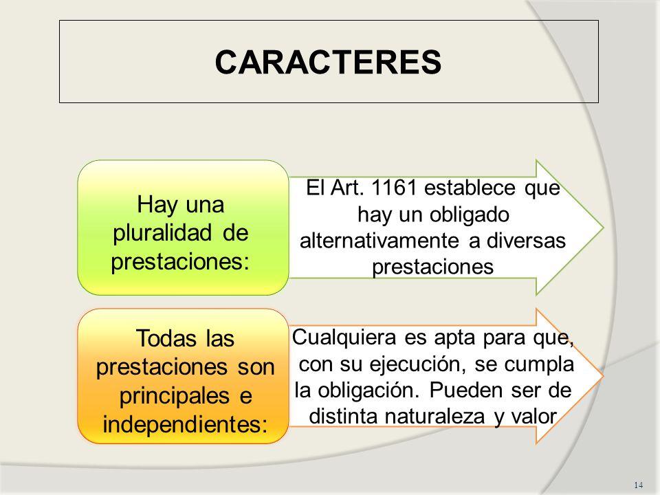 CARACTERES 14 Hay una pluralidad de prestaciones: El Art.