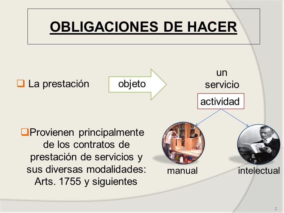 OBLIGACIONES DE HACER 2 La prestaciónobjeto un servicio manualintelectual actividad Provienen principalmente de los contratos de prestación de servicios y sus diversas modalidades: Arts.