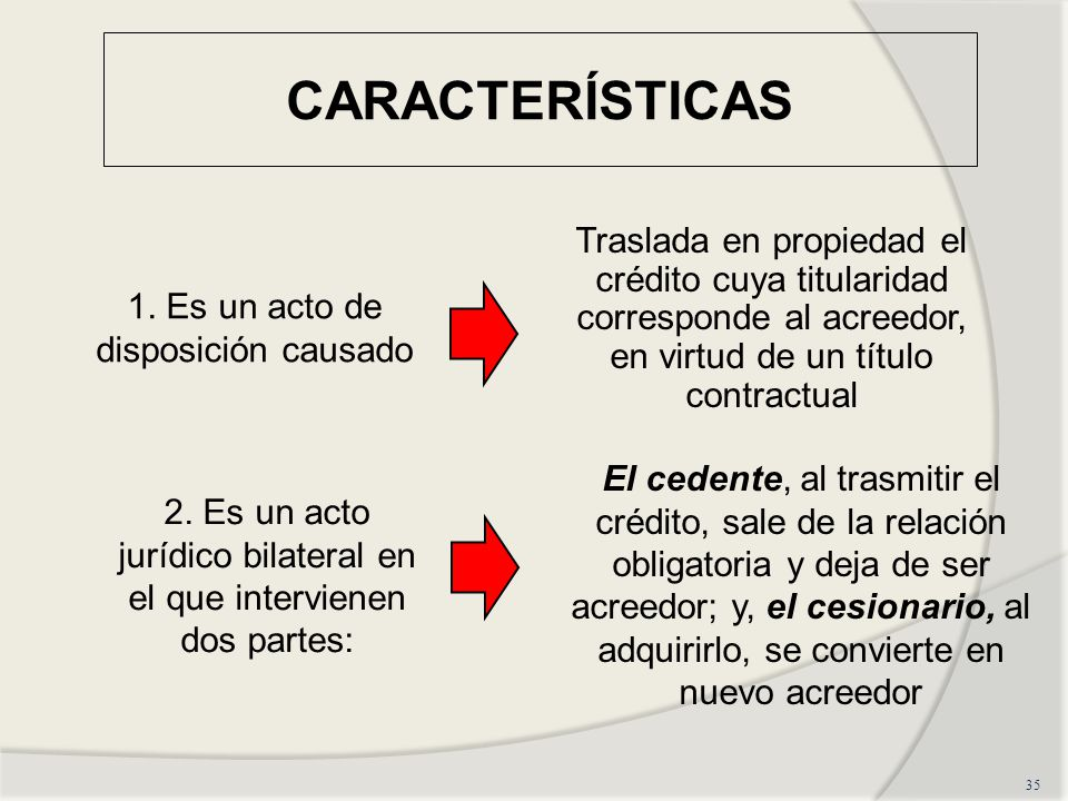 CARACTERÍSTICAS 35 1.Es un acto de disposición causado 2.
