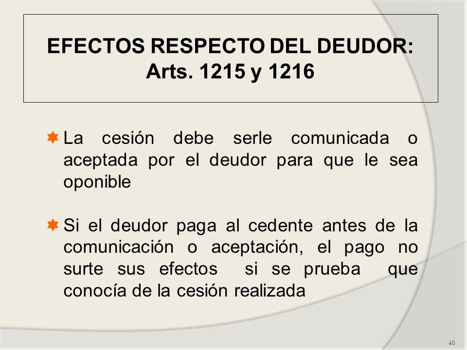 EFECTOS RESPECTO DEL DEUDOR: Arts.