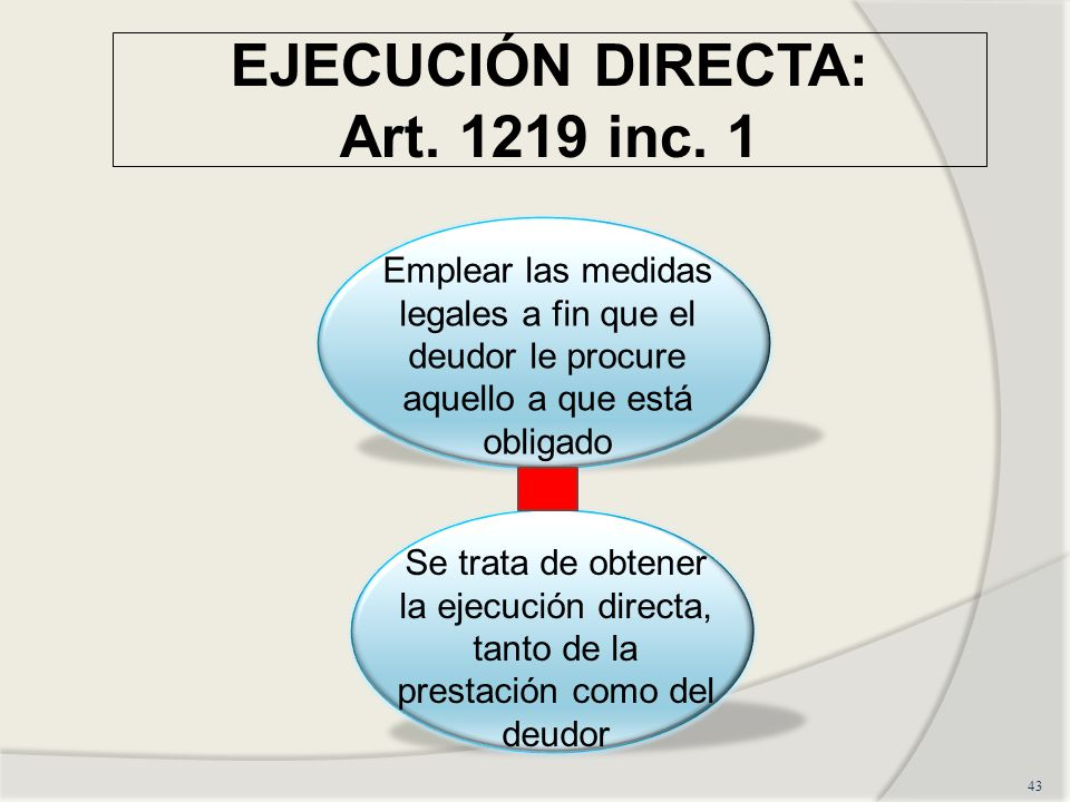 EJECUCIÓN DIRECTA: Art.1219 inc.
